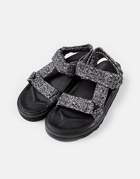 [굽 5cm] Cotton Snap Sandal Shoes